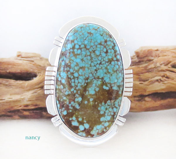 Native American Jewelry #8 Mine Turquoise & Sterling Silver Sz 8 - 2465sn