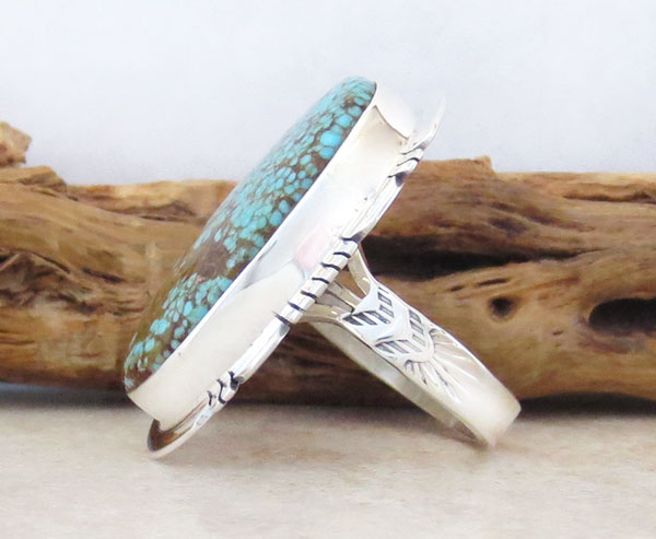 Image 2 of        Native American Jewelry #8 Mine Turquoise & Sterling Silver Sz 8 - 2465sn