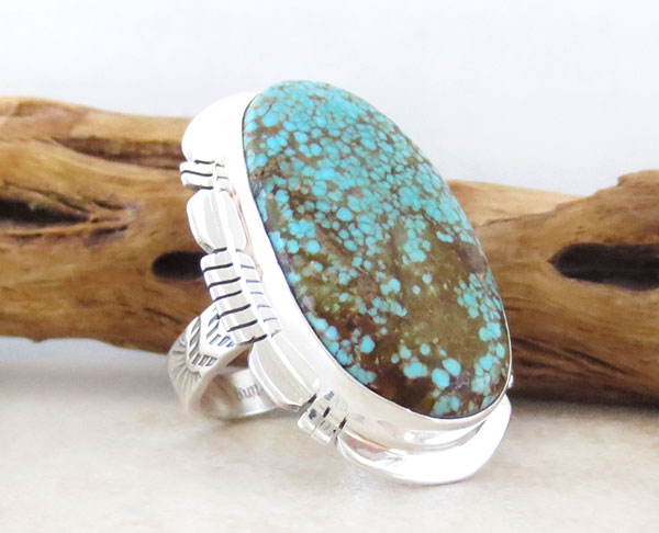 Image 3 of        Native American Jewelry #8 Mine Turquoise & Sterling Silver Sz 8 - 2465sn