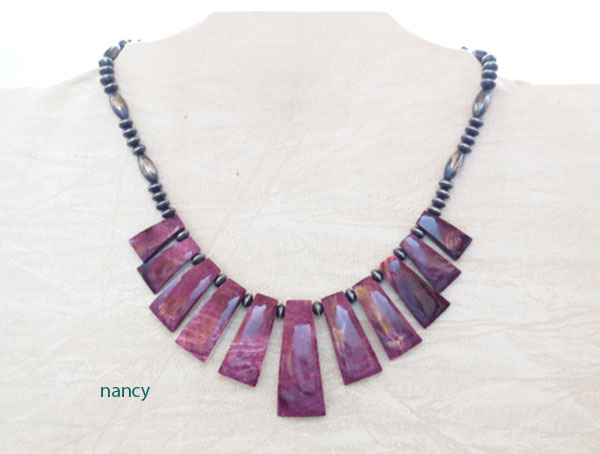 Image 1 of Purple Spiny Oyster & Antiqued Sterling Silver Bead Necklace - 4654rio