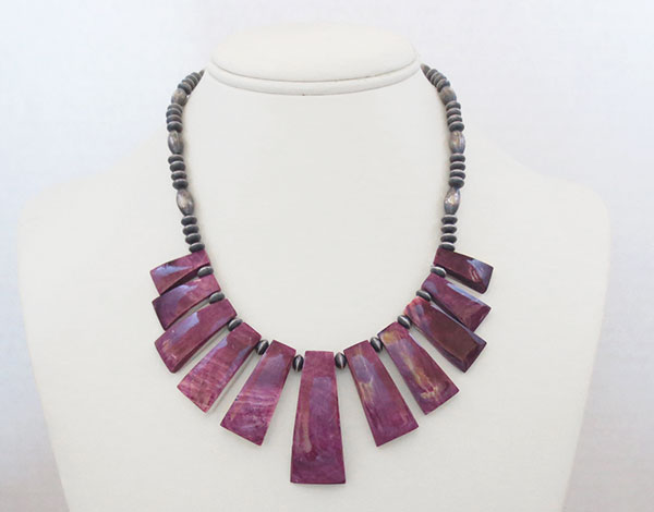 Image 2 of Purple Spiny Oyster & Antiqued Sterling Silver Bead Necklace - 4654rio