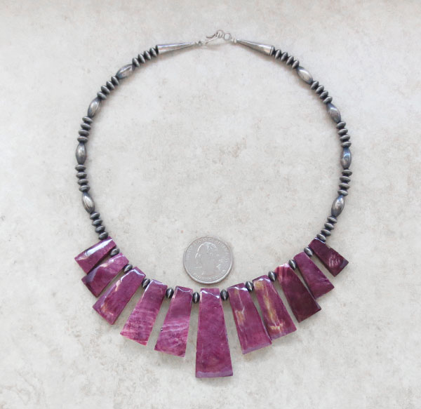 Image 0 of Purple Spiny Oyster & Antiqued Sterling Silver Bead Necklace - 4654rio