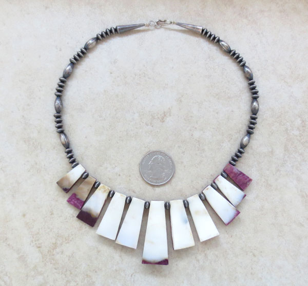Image 5 of Purple Spiny Oyster & Antiqued Sterling Silver Bead Necklace - 4654rio