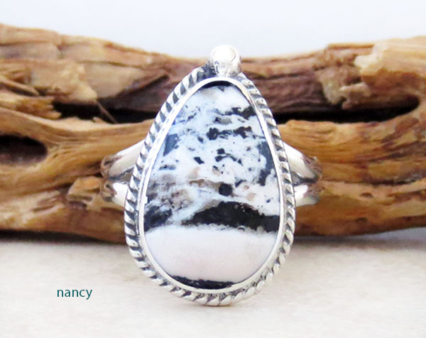 Native American Jewelry White Buffalo Stone & Sterling Silver Ring Sz 9 - 2457sn