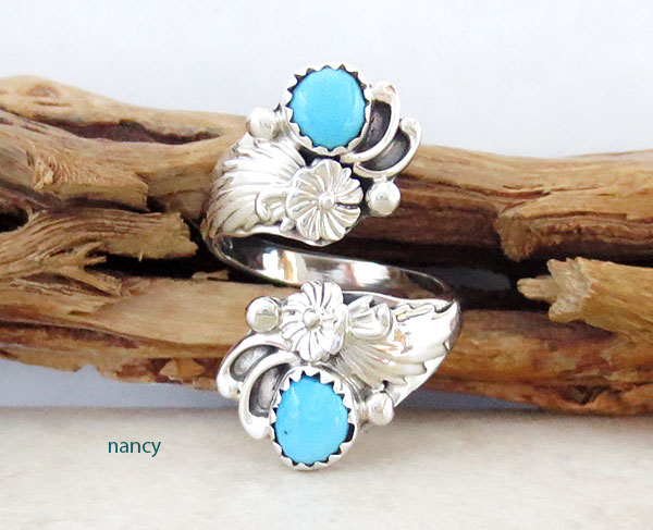 Image 0 of Turquoise & Sterling Silver Adjustable Ring Native American Jewelry - 4647rb