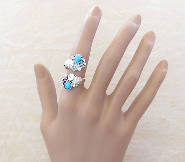 Image 1 of Turquoise & Sterling Silver Adjustable Ring Native American Jewelry - 4647rb