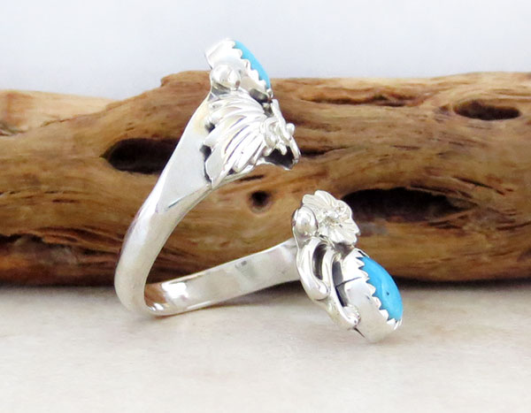 Image 2 of Turquoise & Sterling Silver Adjustable Ring Native American Jewelry - 4647rb