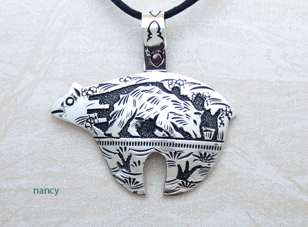 Image 0 of Sterling Silver Overlay Pendant Native American Richard Singer - 1126rb