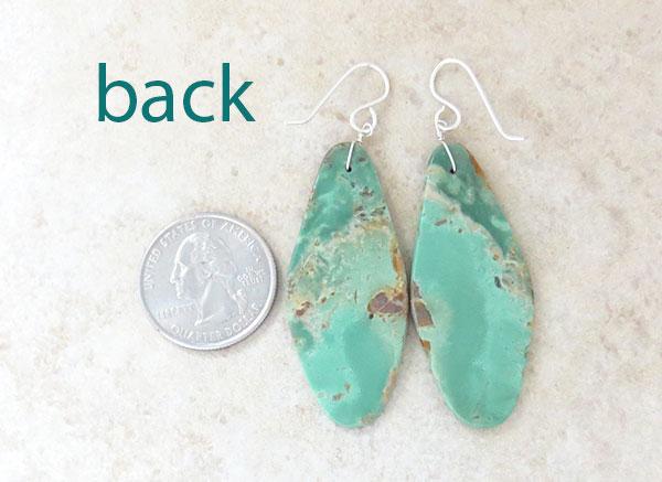 Image 2 of    Big Turquoise Slab Earrings Native American Kewa  - 1540rio