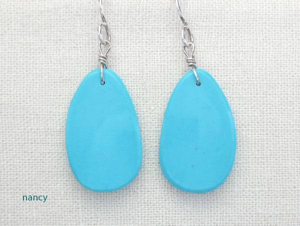 Image 0 of     Native American Turquoise Slab Earrings Kewa - 4583pl