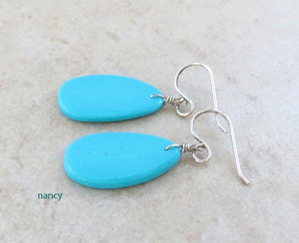 Image 1 of     Native American Turquoise Slab Earrings Kewa - 4583pl