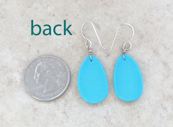 Image 2 of     Native American Turquoise Slab Earrings Kewa - 4583pl