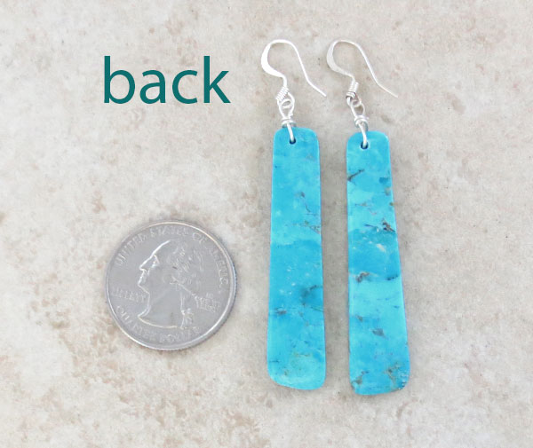 Image 2 of     Turquoise Slab Earrings Native American Santo Domingo Made - 4192pl
