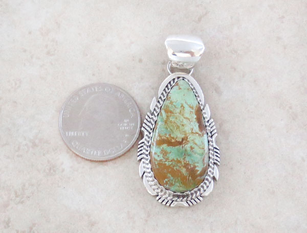 Image 1 of   Turquoise & Sterling Silver Pendant  Native American Made - 1508dt