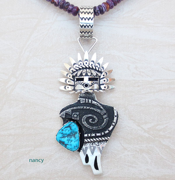 Image 0 of Turquoise & Sterling Silver Morning Singer Pendant Navajo Jewelry - 2658rb
