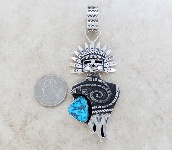 Image 1 of Turquoise & Sterling Silver Morning Singer Pendant Navajo Jewelry - 2658rb