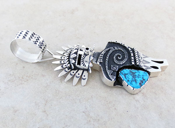 Image 2 of Turquoise & Sterling Silver Morning Singer Pendant Navajo Jewelry - 2658rb