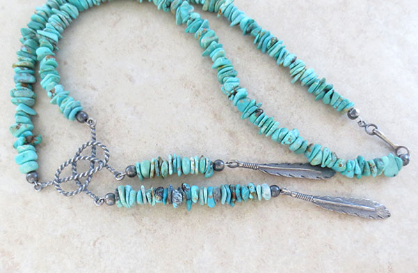 Image 2 of   Turquoise & Sterling Silver Necklace Native American Jewelry - 2609ft