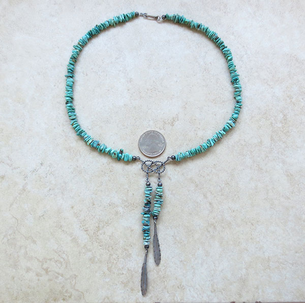 Image 3 of   Turquoise & Sterling Silver Necklace Native American Jewelry - 2609ft