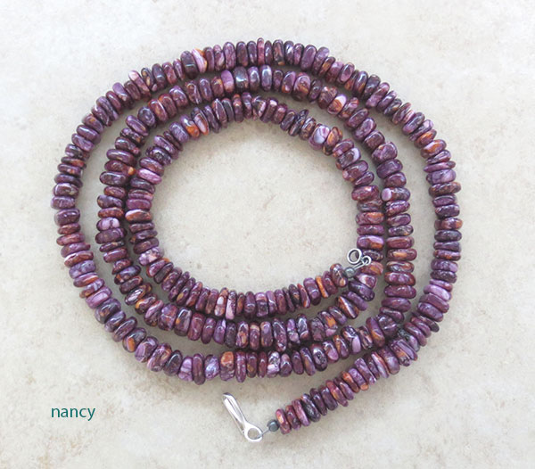 Image 0 of Purple Spiny Oyster Bead Necklace Native American Jewelry - 2625ft