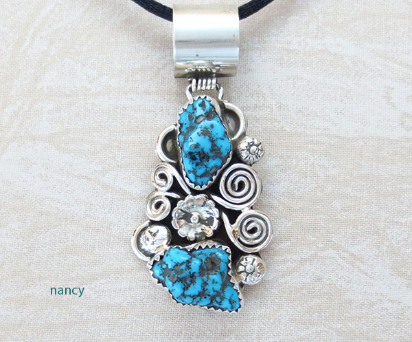 Turquoise & Sterling Silver Pendant Native American Jewelry - 1128rb