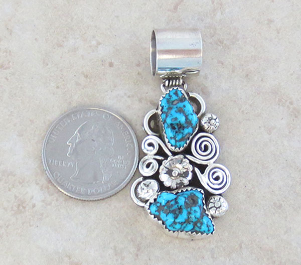 Image 1 of     Turquoise & Sterling Silver Pendant Native American Jewelry - 1128rb