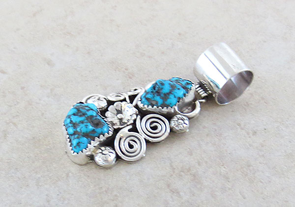 Image 2 of     Turquoise & Sterling Silver Pendant Native American Jewelry - 1128rb