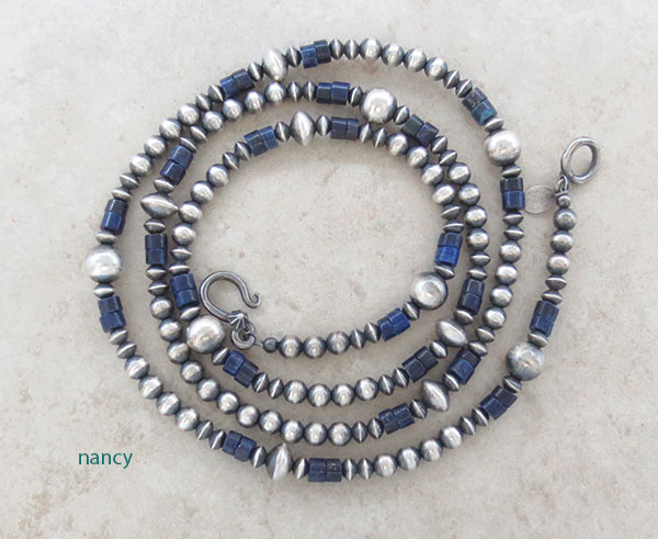 Sterling Silver Bead & Lapis Necklace Native American Made - 2638ft
