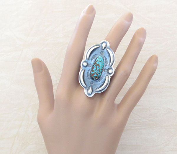 Image 1 of Native American Jewelry Turquoise & Sterling Silver Ring Sz 8 - 4587rb