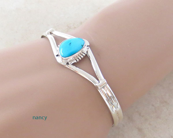 Image 1 of       Turquoise & Sterling Silver Bracelet Native American Jewelry- 4571sn