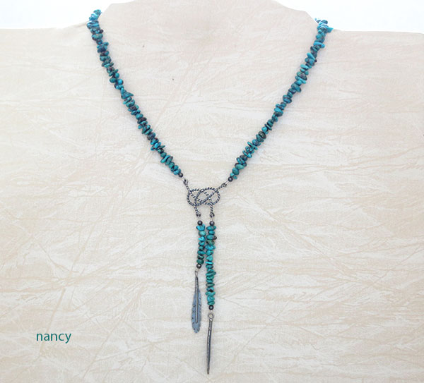 Turquoise & Sterling Silver Necklace Native American Jewelry - 5040ft