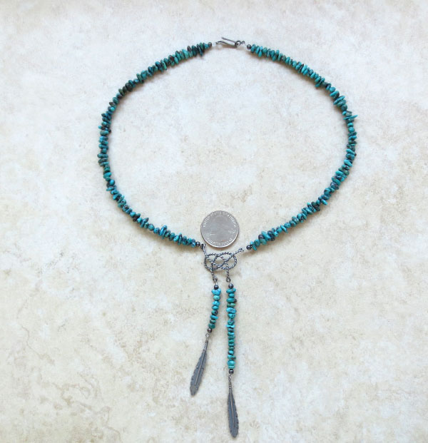 Image 2 of   Turquoise & Sterling Silver Necklace Native American Jewelry - 5040ft
