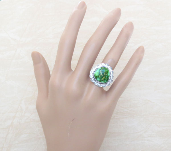 Image 1 of  Turquoise & Sterling Silver Ring Sz 8 Native American Made Jewelry - 4901sn