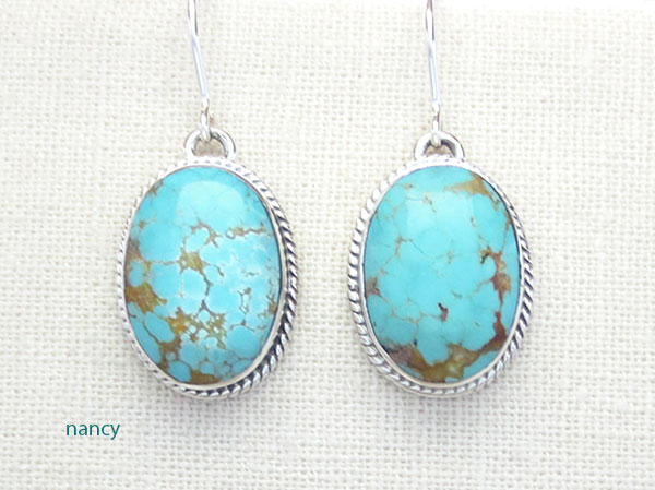 Native American Jewelry #8 Mine Turquoise & Sterling Silver Earrings - 4761sn