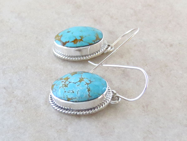 Image 1 of Native American Jewelry #8 Mine Turquoise & Sterling Silver Earrings - 4761sn