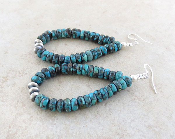 Image 1 of  Turquoise & Sterling Silver Bead Earrings Native American - 5012rio