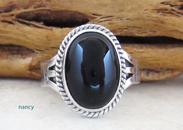 Image 0 of        Black Onyx & Sterling Silver Ring Ss 7 Native American Jewelry - 2639sn