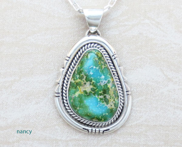 Image 0 of Sonoran Turquoise Pendant Native American Jewelry Navajo Made - 4905sn