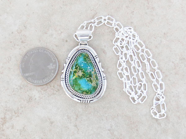 Image 1 of Sonoran Turquoise Pendant Native American Jewelry Navajo Made - 4905sn