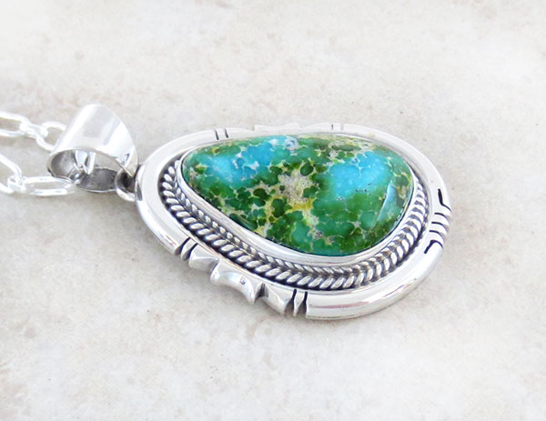 Image 2 of Sonoran Turquoise Pendant Native American Jewelry Navajo Made - 4905sn