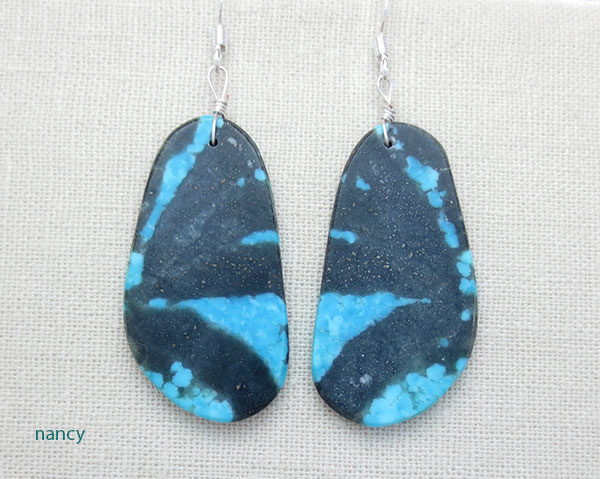 Image 0 of    Native American Santo Domingo Turquoise Slab Earrings - 4904rio