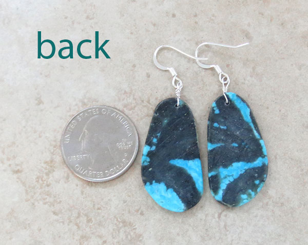 Image 2 of    Native American Santo Domingo Turquoise Slab Earrings - 4904rio