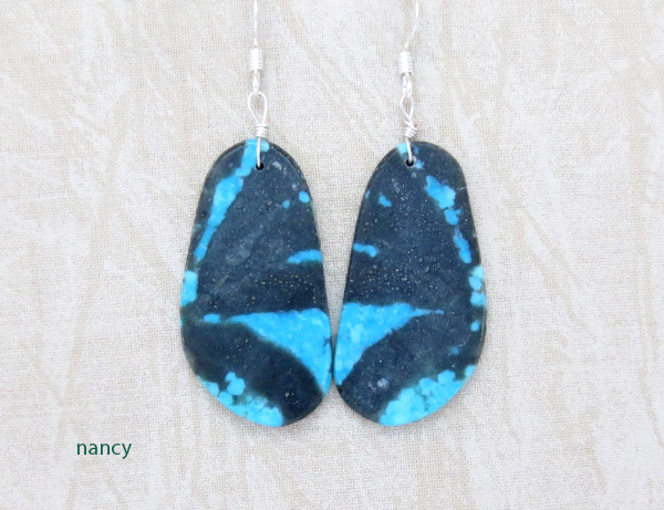 Image 0 of  Native American Jewelry Santo Domingo Turquoise Slab Earrings - 4904rio