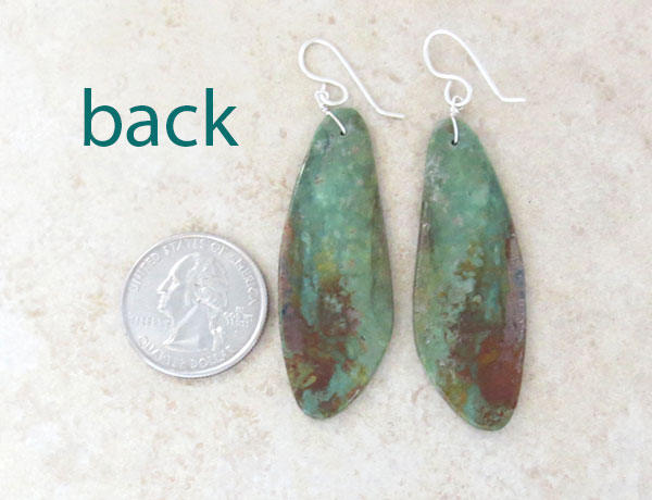 Image 1 of  Green Turquoise Slab Earrings Native American Kewa - 4762rio