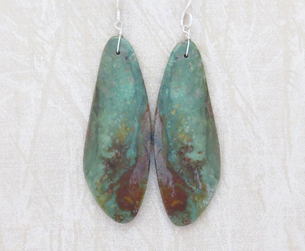 Image 0 of  Green Turquoise Slab Earrings Native American Kewa - 4762rio