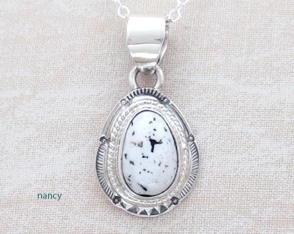 Image 0 of   Navajo Jewelry White Buffalo Stone & Sterling Silver Pendant - 4586sn