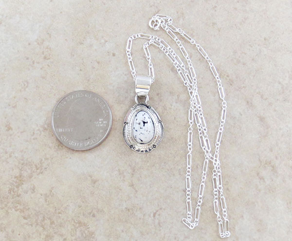 Image 1 of   Navajo Jewelry White Buffalo Stone & Sterling Silver Pendant - 4586sn