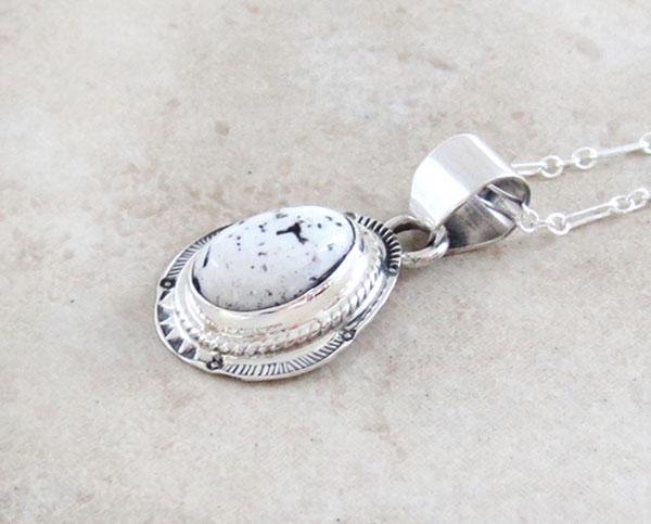 Image 2 of   Navajo Jewelry White Buffalo Stone & Sterling Silver Pendant - 4586sn