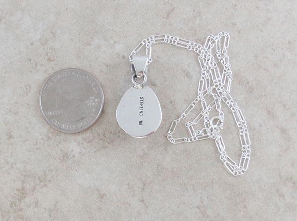Image 3 of   Navajo Jewelry White Buffalo Stone & Sterling Silver Pendant - 4586sn