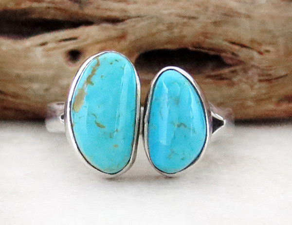 Sterling Silver & Turquoise Ring Sz 8 Native American Jewelry - 4589sn